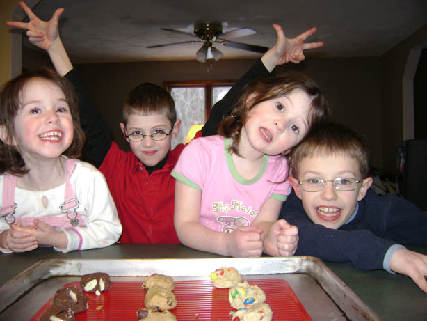 The Berigan Kids (Claire, Liam, Erin, Noah) testing out Chippery cookie dough